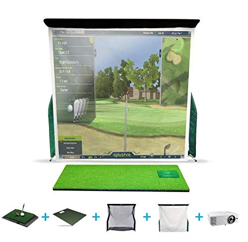 OptiShot2 Golf Simulator for Home with Upgraded Pro Series Net Return, Impact Screen, Projector, and Stance Mat (Golf-in-A-Box 3)