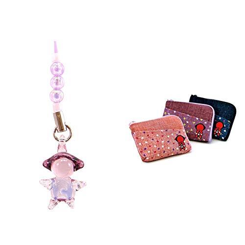 [2点セット] ガラスのさるぼぼ 手作りキーホルダー 【紫】・おねがいさるぼぼ ポーチ(小) 【ピンク】