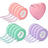 Eyelash Extension Tape Breathable Adhesive Lash Tape Non-woven Fabric Lash Tape with Heart-shaped Tape Dispenser Cutter, 0.5 Inch Wide, 10 Yards Long of Each (Pink, Purple, Green)