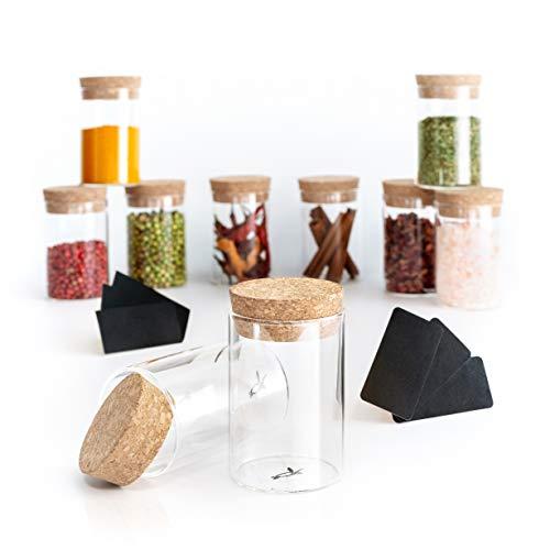 returtle Gewürzgläser Set (10 Stück) - Ideale Gewürzdosen aus Glas mit Korkdeckel - Gewürzbehälter mit 140ml Füllmenge - luftdichte Gewürzaufbewahrung