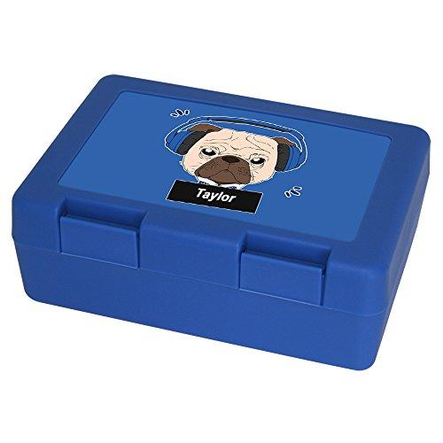 Brotdose mit Namen Taylor und schönem Motiv - Mops mit Kopfhörer - für Hundefreunde   Brotbox blau - Vesperdose - Vesperbox - Brotzeitdose mit Vornamen