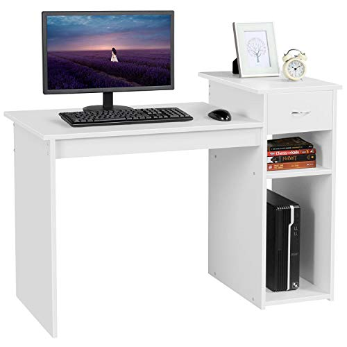 Yaheetech Escritorio de Ordenador Mesa para Computadora con Estante Mesa de Estudio para Oficina Hogar Blanco