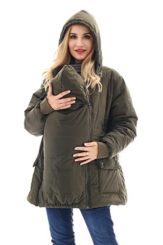 Bearsland Maternity Babywearing Pregnancy Jacket Coat Mother's Down Duffle Coat with Windproof Waterproof,ArmyGreen,M