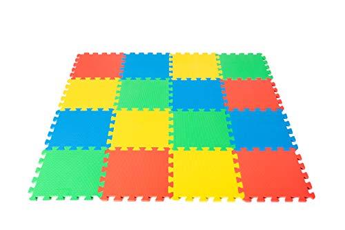 Allfombra de Espuma EVA para Juegos marca WITTA; especial para Bebés y Niños; 16 Piezas 31 x 31cm Multicolores, Alfombrilla Puzzle con área de cobertura de 1.36m2