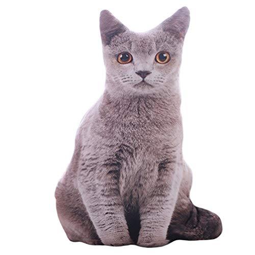 50Cm 3D Simulation Katzen Kissen Süße Katze Waschbar Plüsch Gefüllte Kissen Kinder Spielzeug Sofa Kissen Home Decoration (Grau)