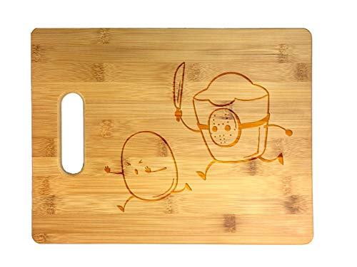 French Fried Jason Funny Horror Film Parody - Laser Engraved Bamboo Cutting Board - Wedding, Housewarming, Anniversary, Birthday, Father's Day, Gift