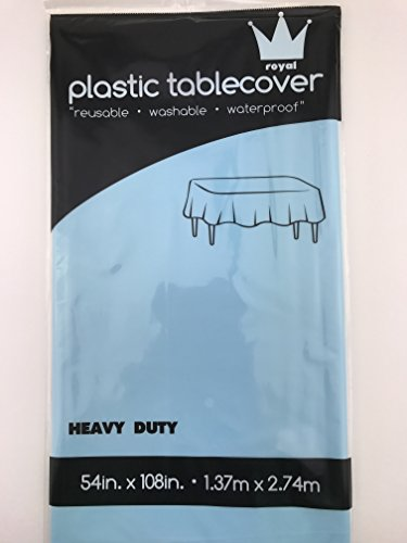 Royal 54 x 108 FOUR Plastic Table Cloth, Plastic Party Table Cover, Reusable Plastic Table Cloth, Disposable Rectangular table cover (LIGHT BLUE)