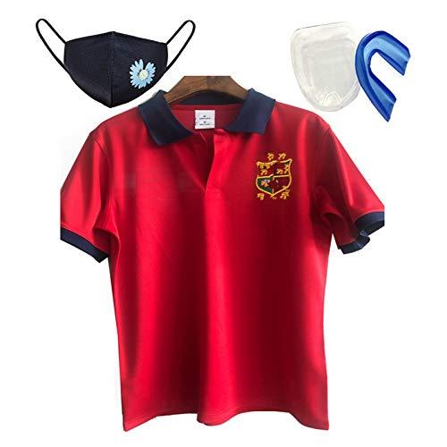 MRATME Rugby Jersey Irish Rugby aus Baumwoll-Jersey Polo Frauen-Fußball-Hemd Neutral Short Sleeve + Zubehör Red red-L