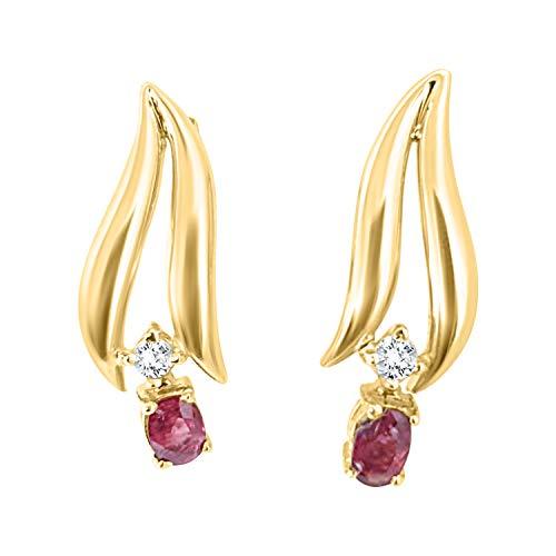 Orecchini donna oro giallo 18ct 750 con rubino e diamante orecchini classici orecchini eleganti oro