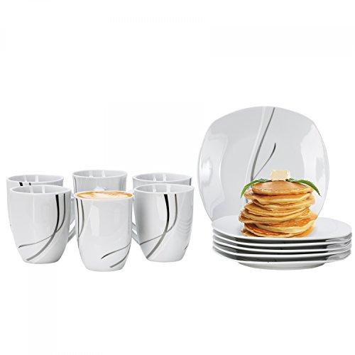 Van Well Frühstücksservice Silver Night, 12tlg. für 6 Personen, 6 Kaffeebecher + 6 Kuchenteller, Hotelporzellan, abstraktes Dekor, Gastro-Geschirr