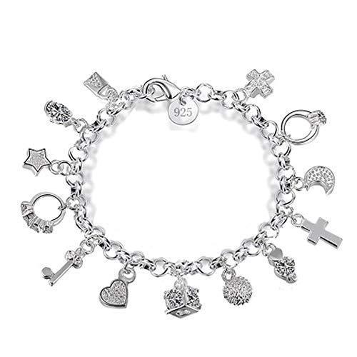 Pulsera de plata de 13 piezas colgantes para mujer, regalo de moda, para mujer, pulseras y brazaletes
