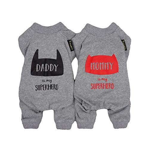 Fitwarm 2-Pack Daddy Mommy is My Superhero Pet Clothes for Dog Pajamas Onesies Valentines Day Matching Outfits Cat Jumpsuits PJS Cotton Grey Medium