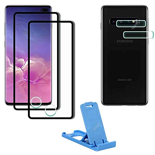 Screen Protector for Samsung Galaxy S10 Plus + Lens Protector + Desk Cell Phone Stand Holder [2+2+1 Pack], ULBTER Galaxy S10 Plus High Definition 9H Hardness Tempered Glass Screen Protector