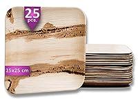 waipur piatti in foglia di palma biologici – 25 piatti quadrati 25x25 cm – piatti usa e getta eleganti di alta qualità – leggeri ma resistenti – come piatto di legno