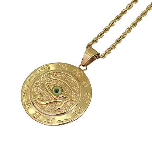 Moca Schmuck Hip-hop Alten ägyptischen Horus Eye Anhänger Edelstahl Kette Strass Kristall Halskette Für Männer Frauen (B)