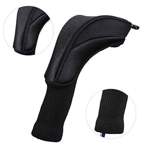 DHTOMC Golf Clubs Iron Head Covers Black Knit Durable Golf Cap Set Golf Putter Headcover For No. 1.3.5 Rod Replacement Putter Covers Light Durable (Color : Black, Size : Free)