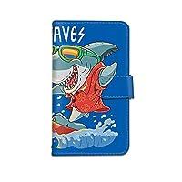 [bodenbaum] ZenFone 3 Max ZC553KL 手帳型 スマホケース カード ミラー スマホ ケース カバー ケータイ 携帯 ASUS エイスース ゼンフォン スリー マックス SIMフリー サメ 海 鮫 サーフィン d-406 (B.ブルー)