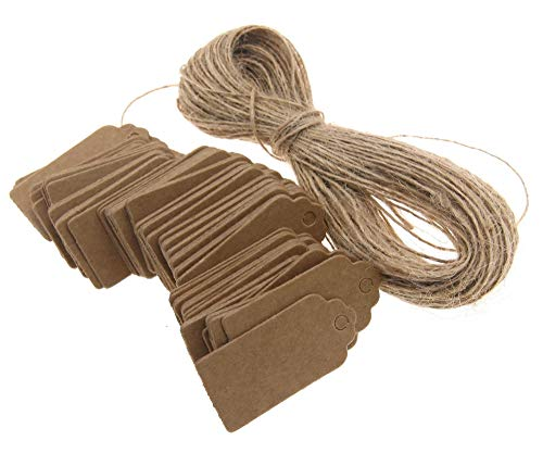 100tlg. Braunes Kraftpapier Anhänger Etiketten Geschenkanhänger Etikett Hochzeitsfeier Geschenkkarten 4 x 2 cm mit Jute Schnur 20M