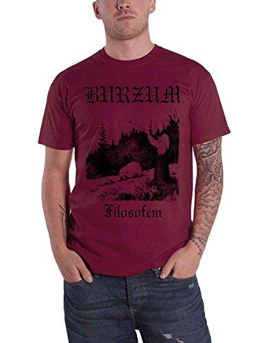 Burzum T Shirt Filosofem Album Lyrics Band Logo Nuovo Ufficiale Uomo Maroon Size XXL