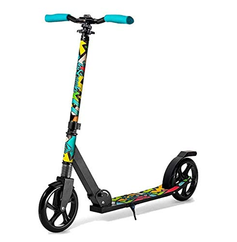 """Lascoota Scooters for Kids 8 Years and up - Quick-Release Folding System - Dual Suspension System + Scooter Shoulder Strap 7.9"""" Big Wheels Great Scooters for Adults and Teens (Graphic, Kids/Adults)"""