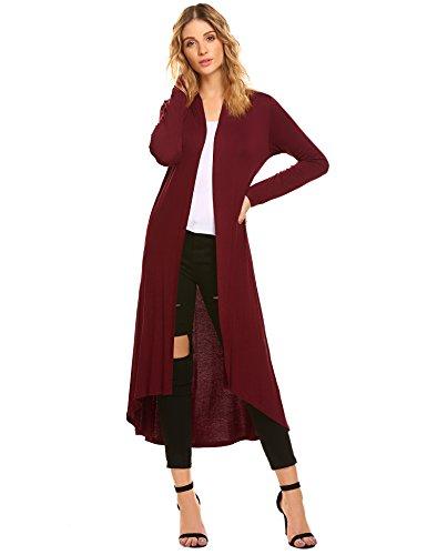 POGTMM Women's Long Open Front Drape Lightweight Maix Long Sleeve Cardigan Sweater (US L(12-14), Wine Red)