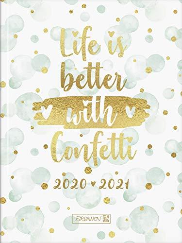 """BRUNNEN 1071720091 """"Confetti"""" Tageskalender/Schülerkalender 2020/2021, 1 Seite = 1 Tag, Sa. + So. auf einer Seite, Blattgröße 12 x 16 cm, A6, Hardcover-Einband"""