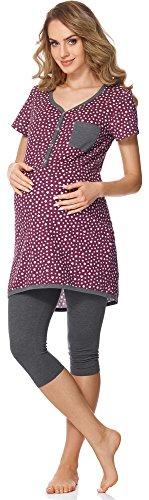Bellivalini Damen Umstands Pyjama mit Stillfunktion BLV50-126 (Wein Sterne/Graphit, XL)