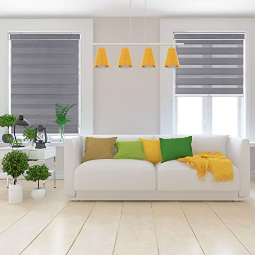 "Arlo Blinds Cordless Zebra Roller Shades 33.5"" W x 60"" H, Grey Horizontal Window Blinds"