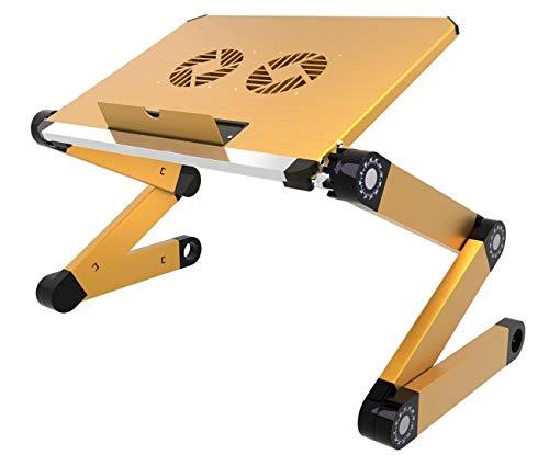 Soporte ergonómico portátil para ordenador portátil, mesa de escritorio, bandeja plegable para cama, altura y ángulo totalmente ajustable con ventiladores USB para trabajar desde casa o viajes