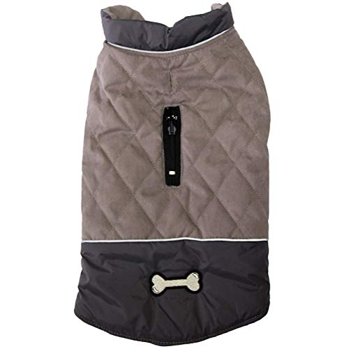 Vecomfy Reversible Dog Coats for Small Dogs Waterproof Warm Puppy Jacket for Cold Winter,Grey XS