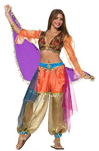 shoperama Disfraz de princesa árabe para mujer, 3 piezas, bailarina del vientre, Jeannie Oriente, árabe, talla M