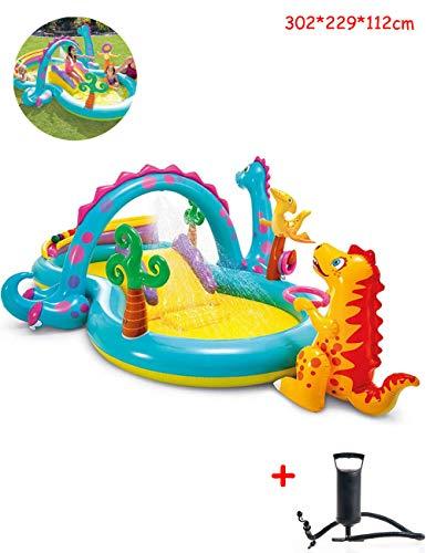 Niños Piscina Inflable Grande Piscina Hinchable, Tobogán Acuático De De Dinosaurios, Piscina Infantil Hinchable para Niños, Piscina Familiar con Piscina Oceánica