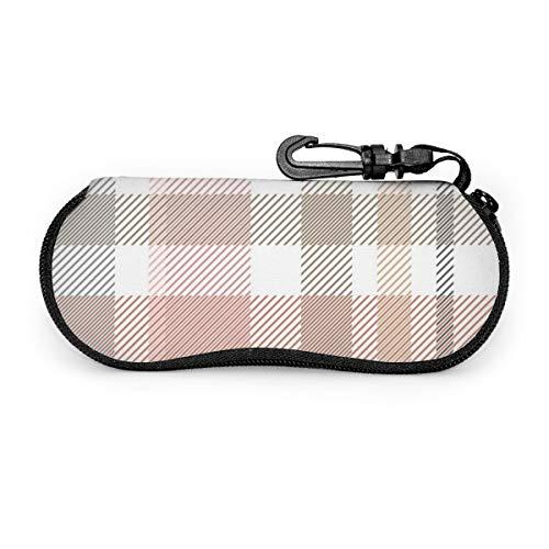 Osmykqe Estuche de gafas Estampado a cuadros de luz Patrón de vector transparente Cremallera de viaje portátil Neopreno suave Funda de polvo de seguridad Estuches Funda