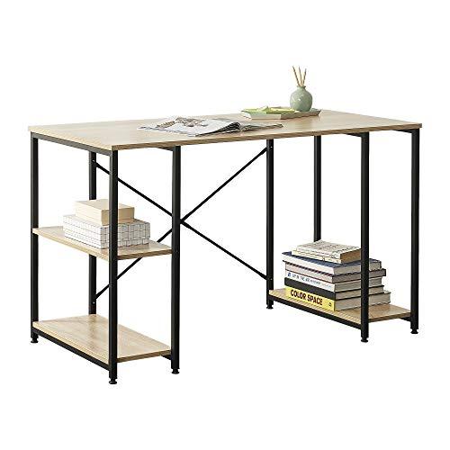 [en.casa] Mesa Escritorio Aarhus Escritorio de Ordenador 75 x 120 x 60 cm con 3 estantes Mesa de Oficina Negro y Color Roble