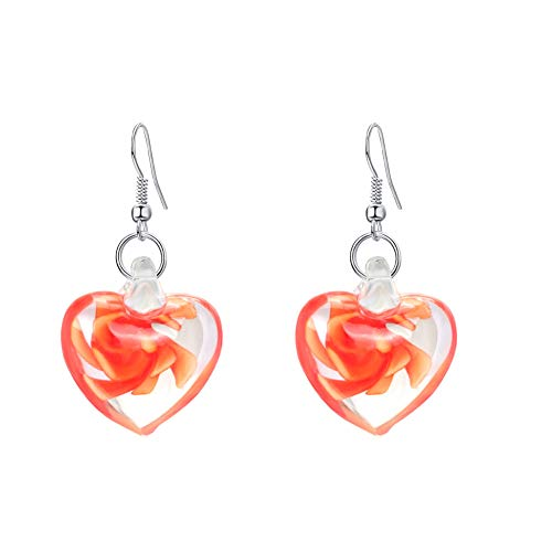 Jianan Boucles d'oreilles Amour Parure Murano Verre Inspirée de la Mode à l'intérieur en Spirale Boucle d'oreille Clips pour Les Femmes,Orange