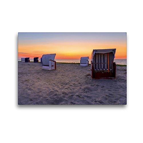 CALVENDO Premium Textil-Leinwand 45 x 30 cm Quer-Format Strandkörbe bei Harlesiel, Leinwanddruck von Reemt Peters-Hein