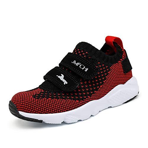 shanglutong Turnschuhe Jungen Sportschuhe Kinder Schuhe Mädchen Sneaker Hallenschuhe Atmungsaktiv Leichte Laufschuhe Straßenlaufschuhe für Unisex-Kinder Schwarz Rot Gr 32