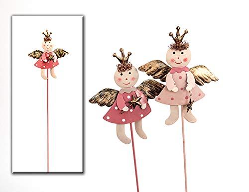 HausderHerzen 2er Set Engel Topfstecker pink Pflanzendeko Fensterbank Blumentopf Frühlingsdeko Fee Elfe