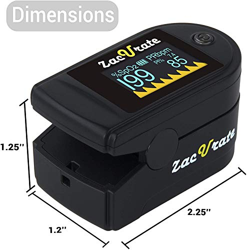 kh Deluxe Fingertip Pulse Oximeter Blood Oxygen Saturation Monitor with Silicon Cover, Lanyard (Color May Vary))