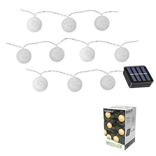 Solar LED Snowball String Lights, 20 Feet, 10 Snowball LED's, Perfect for Holiday Decor or Party Indoor Outdoor Lights - 1 Pack