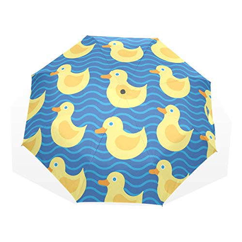Trushop Paraguas Automático Pattern with Yellow Duck Windproof Travel Umbrella Compact Folding Umbrella