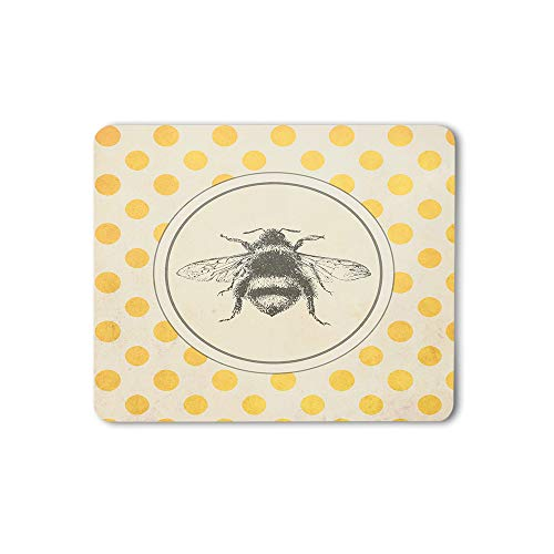 Moslion Bee Mouse Pad Animal Wing Retro Vintage Polka Dots Circle Gaming Mouse Mat Non-Slip Rubber Base Thick Mousepad for Laptop Computer PC 9.5x7.9 Inch