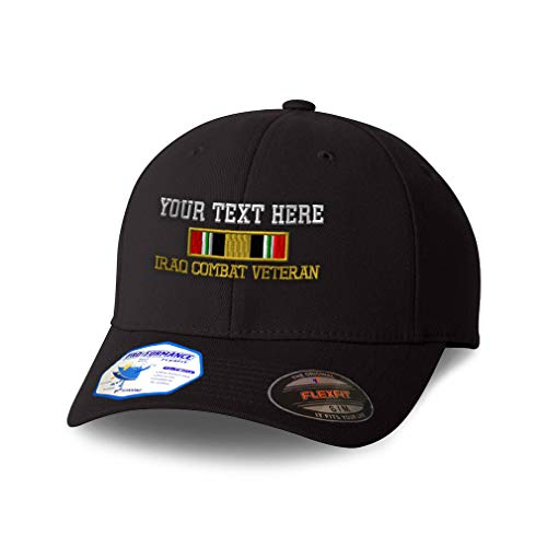 Custom Flexfit Hats for Men & Women Iraq Combat War Veteran Flag Embroidery Polyester Dad Hat Baseball Cap Black Personalized Text Here Small Medium