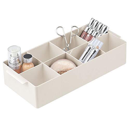 mDesign Organizador de Maquillaje – Caja organizadora con 8 apartados para Guardar Maquillaje y medicamentos – Práctica Caja con Compartimentos para Lavabo o cómoda para pintaúñas y más – Color Crema