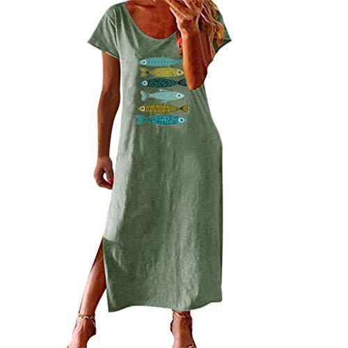 ReooLy Vestido Largo de Horquilla Abierta con Estampado de luz de Manga Corta y Cuello Redondo de Manga Larga(C-Verde,XL)
