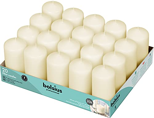 BOLSIUS Set of 20 Ivory Pillar Candles - 2x4 inch Unscented Candle Set - Dripless Clean Burning Smokeless Dinner Candle - Perfect for Wedding Candles, Parties and Special Occasions