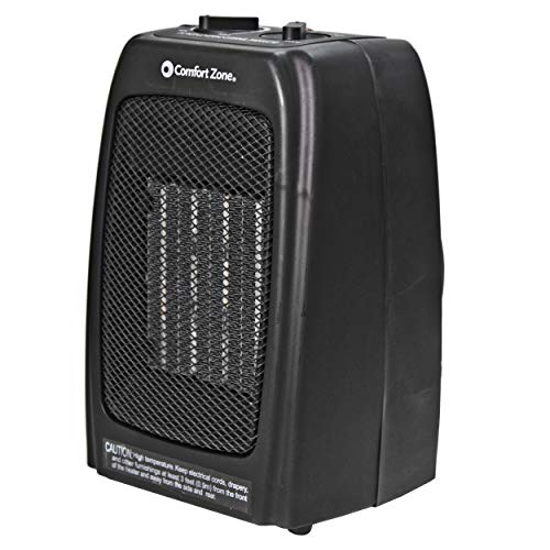 Comfort Zone CZ442E Personal Ceramic Heater - 1500W Portable Warmer for Small Room, Office, Bedroom, Desk - Energy-Saving Heating Unit with Adjustable Thermostat, Tip-Over Switch & Overheat Protection