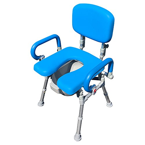 UltraCommode™ Foldable Commode/Shower Chair- Soft, Warm, Padded and Foldable. XL Seat with 100% Open Front, Padded Pivoting Armrests, Adjustable Height. Free Commode Pail. (Blue)