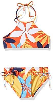 Hobie Girls' Big High Neck Halter Top and Side Tie Bikini Bottom Set, red//Bloomy Daze, 14