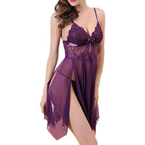 Unilove Sexy Babydoll Lingerie for Women Lace Babydoll Nightgown Chemise Pajamas-Purple M
